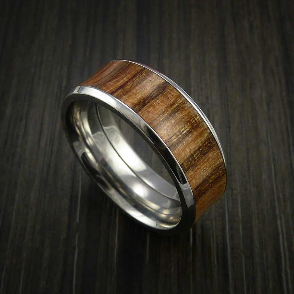 Wood Ring and Cobalt Chrome inlaid with AMERICAN OAK WOOD Wood Custom Made to Any Size and Optional Wood Types