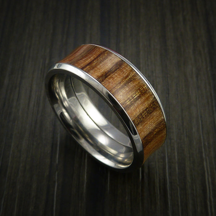 Wood Ring and Cobalt Chrome inlaid with Teak Hardwood Custom Made to Any Size and Optional Wood Types