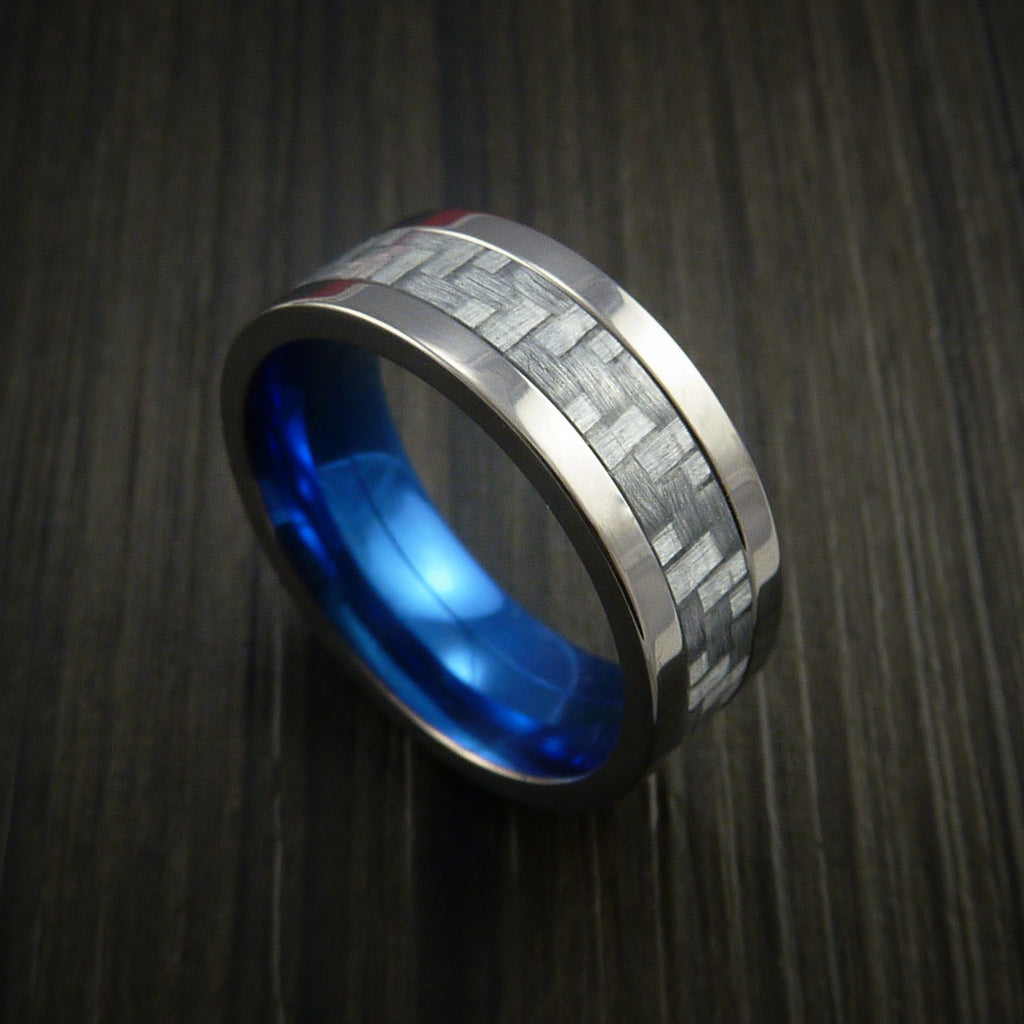 Titanium Ring with Silver Texalium Inlay with Carbon Fiber Style Weave Pattern and Blue Anodized Interior