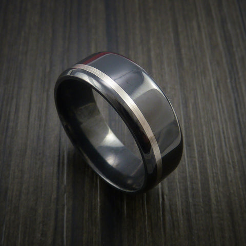 Black Zirconium Band Wide Palladium Inlay Ring Made to Any Sizing
