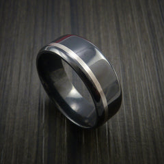 Black Zirconium Band Wide Palladium Inlay Ring Made to Any Sizing by Revolution Jewelry