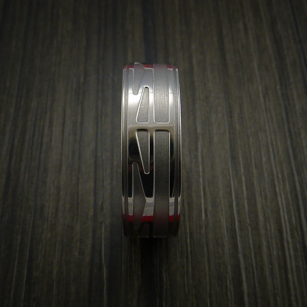 Titanium Custom Geometric Bridge Engineer Graduation Ring
