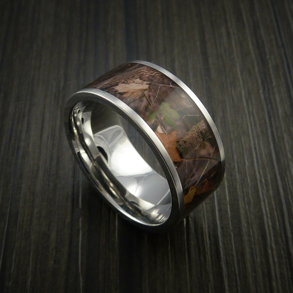 King's Camo WOODLAND SHADOW and Cobalt Chrome Ring Traditional Style Band Made Custom - Revolution Jewelry  - 1