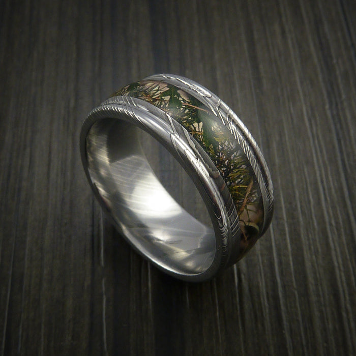 King's Camo Mountain Shadow and Damascus Steel Ring Traditional Style Band Made Custom