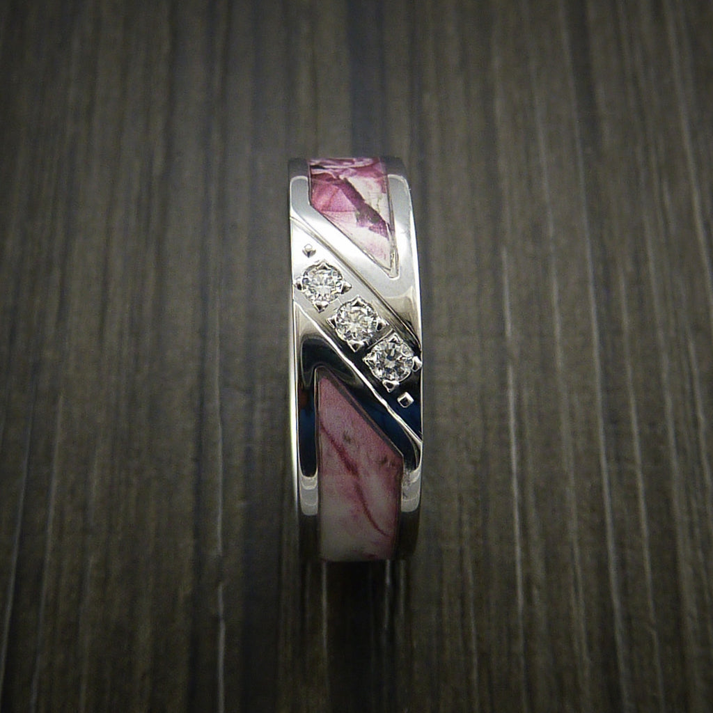 King's Camo PINK SHADOW Ring with Diamond setting in Cobalt Chrome Custom Made