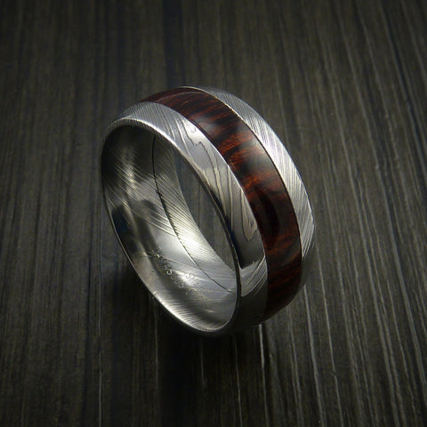 Wood Ring and DAMASCUS Ring inlaid with HERITAGE BROWN HARDWOOD Custom Made