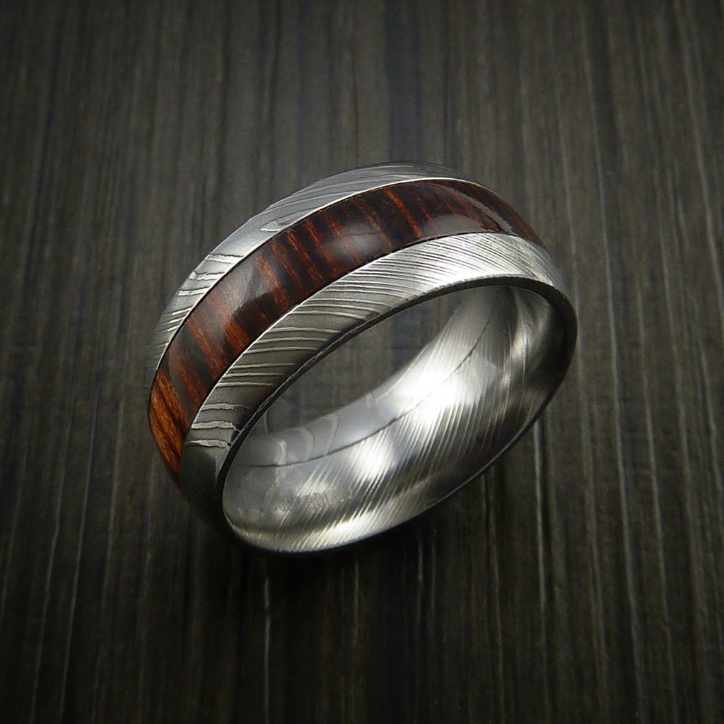 Wood Ring and Damascus Ring inlaid with Hardwood Inlay Custom Made