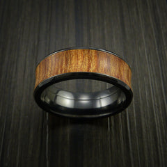 Black Zirconium and WOOD Ring inlaid in FIJI ORANGE WOOD Custom Made to Any Size and Optional Wood Types - Revolution Jewelry  - 2