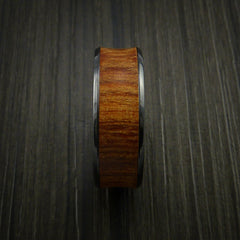 Black Zirconium and WOOD Ring inlaid in FIJI ORANGE WOOD Custom Made to Any Size and Optional Wood Types by Revolution Jewelry