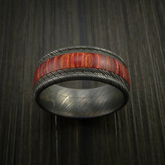 Wood Ring and DAMASCUS Ring inlaid with BAHAMA CHERRY WOOD Custom Made to Any Size and Optional Wood Types - Revolution Jewelry  - 2
