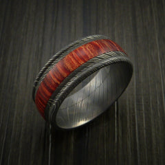 Wood Ring and DAMASCUS Ring inlaid with BAHAMA CHERRY WOOD Custom Made to Any Size and Optional Wood Types - Revolution Jewelry  - 4