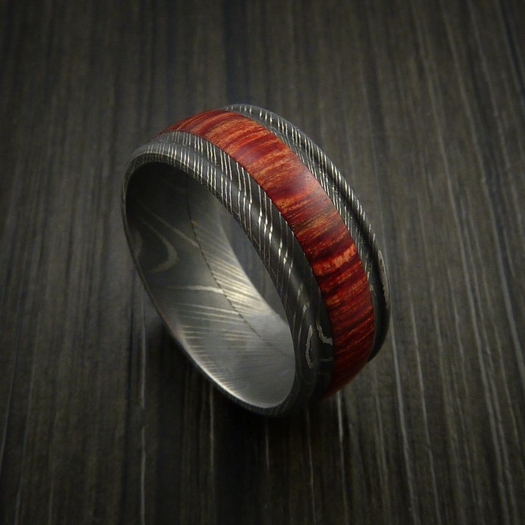 Wood Ring and DAMASCUS Ring inlaid with BAHAMA CHERRY WOOD Custom Made to Any Size and Optional Wood Types