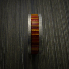 Wood Ring and Titanium Ring inlaid in TERRECOTTA WOOD Custom Made - Revolution Jewelry  - 3