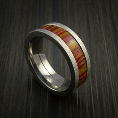 Wood Ring and Titanium Ring inlaid in TERRECOTTA WOOD Custom Made - Revolution Jewelry  - 1