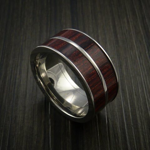 Wood Ring and Titanium Ring inlaid in Bahama Cherry Wood Custom Made to Any Size and Optional Wood Types