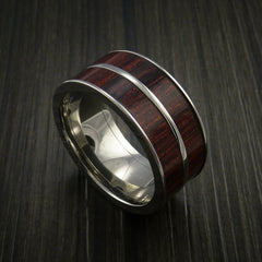 Wood Ring and Titanium Ring inlaid in Bahama Cherry Wood Custom Made to Any Size and Optional Wood Types - Revolution Jewelry  - 1