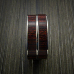 Wood Ring and Titanium Ring inlaid in Bahama Cherry Wood Custom Made to Any Size and Optional Wood Types - Revolution Jewelry  - 4
