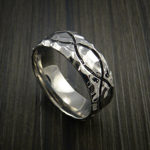 Titanium Celtic Rock Hammer Finish Band Color Infinity Design Ring Any Size