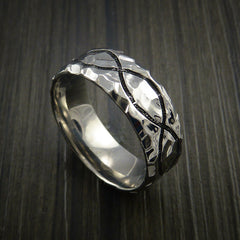 Titanium Celtic Rock Hammer Finish Band Color Infinity Design Ring Any Size - Revolution Jewelry  - 1