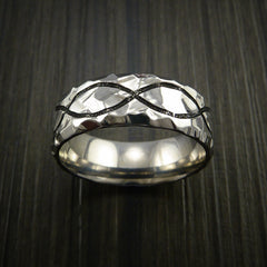 Titanium Celtic Rock Hammer Finish Band Color Infinity Design Ring Any Size - Revolution Jewelry  - 2