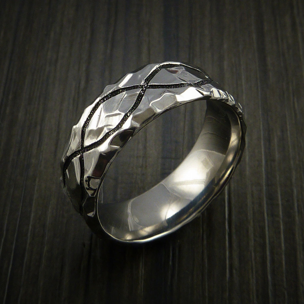 Titanium Celtic Rock Hammer Finish Cerakote Band Color Infinity Design Ring