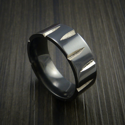 Black Zirconium Wedge Cut Wedding Band Ring Made to Any Sizing and Finish 3-22