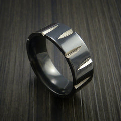 Black Zirconium Wedge Cut Wedding Band Ring Made to Any Sizing and Finish 3-22 by Revolution Jewelry