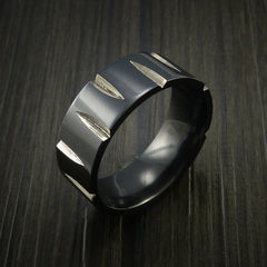 Black Zirconium Wedge Cut Wedding Band Ring Made to Any Sizing and Finish 3-22 - Revolution Jewelry  - 4