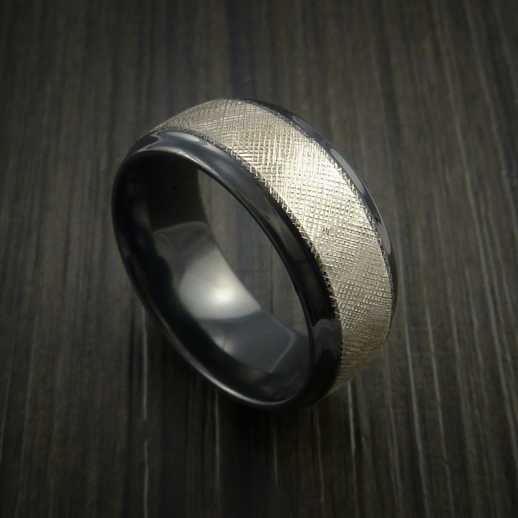 Black Zirconium Ring FLORENTINE textured Band Made to Any Sizing 3-22 by Revolution Jewelry