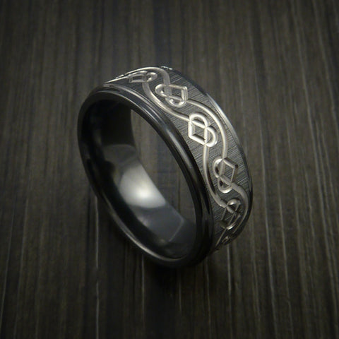 Black Zirconium Celtic Heart Ring Irish Knot Design Band