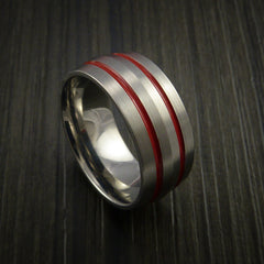 Titanium Band Custom Color Design Ring Any Size and color Options Red, Green, Blue Inlay - Revolution Jewelry  - 1