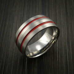 Titanium Band Custom Color Design Ring Any Size and color Options Red, Green, Blue Inlay - Revolution Jewelry  - 3
