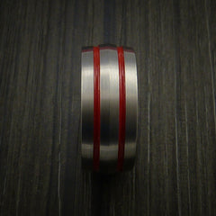 Titanium Band Custom Color Design Ring Any Size and color Options Red, Green, Blue Inlay - Revolution Jewelry  - 4