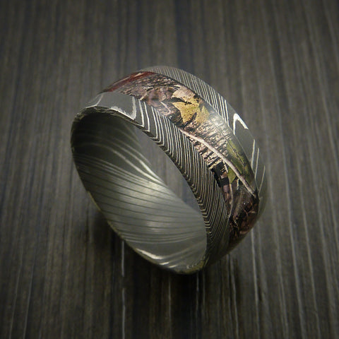 King's Camo WOODLAND SHADOW and Damascus Steel Ring Traditional Style Band Made Custom