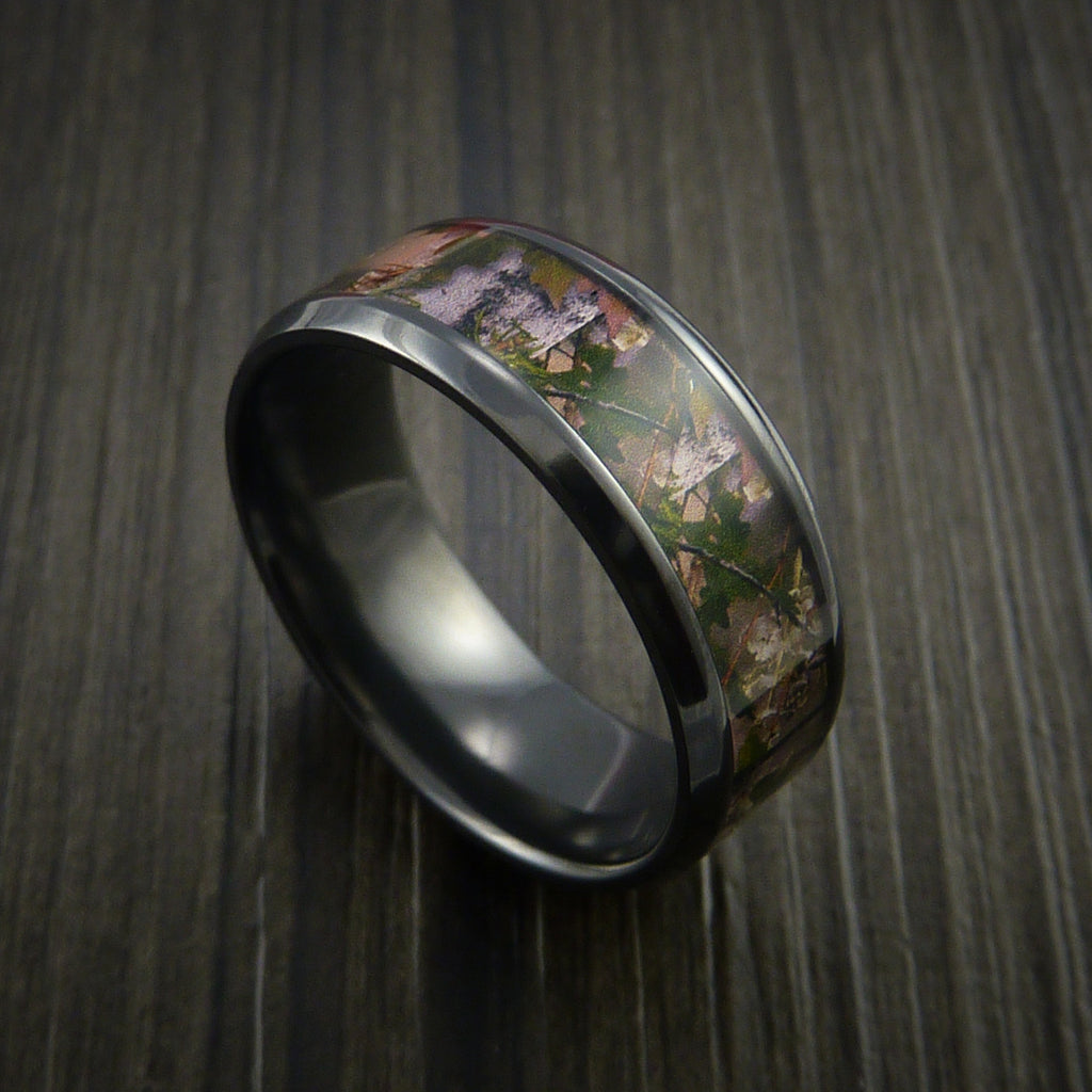 King's Camo MOUNTAIN SHADOW and Black Zirconium Ring Traditional Style Band Made Custom - Revolution Jewelry  - 1