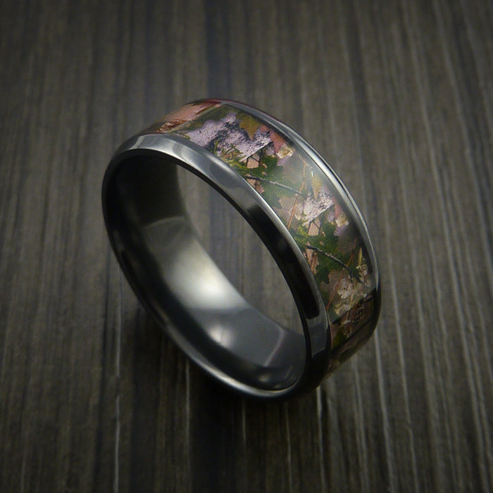 King's Camo MOUNTAIN SHADOW and Black Zirconium Ring Traditional Style Band Made Custom