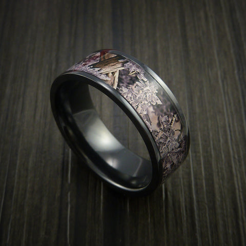 King's Camo DESERT SHADOW and Black Zirconium Ring Traditional Style Band Made Custom