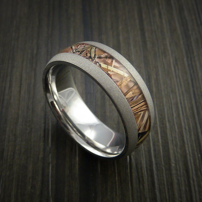 King's Camo FIELD SHADOW and Cobalt Chrome Ring Traditional Style Band Made Custom