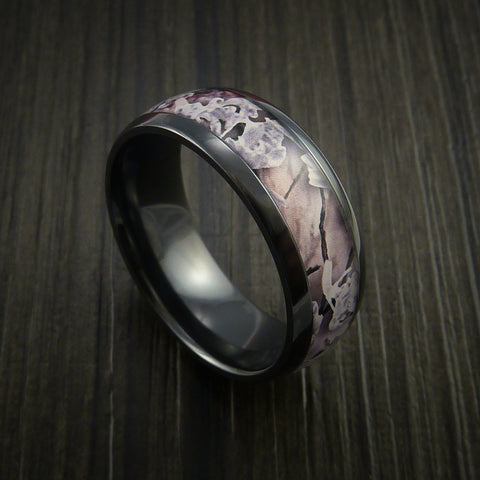 King's Camo SNOW SHADOW and Black Zirconium Ring Traditional Style Band Made Custom