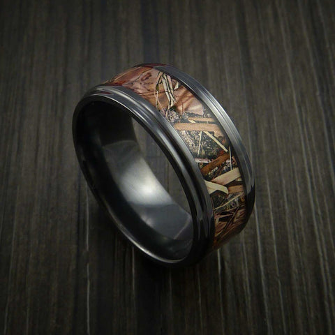 King's Camo FIELD SHADOW and Black Zirconium Ring Traditional Style Band Made Custom