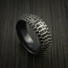 Black Zirconium Carved Tread Design Ring Bold Unique Band Custom Made to Any Sizing 4-22 by Revolution Jewelry