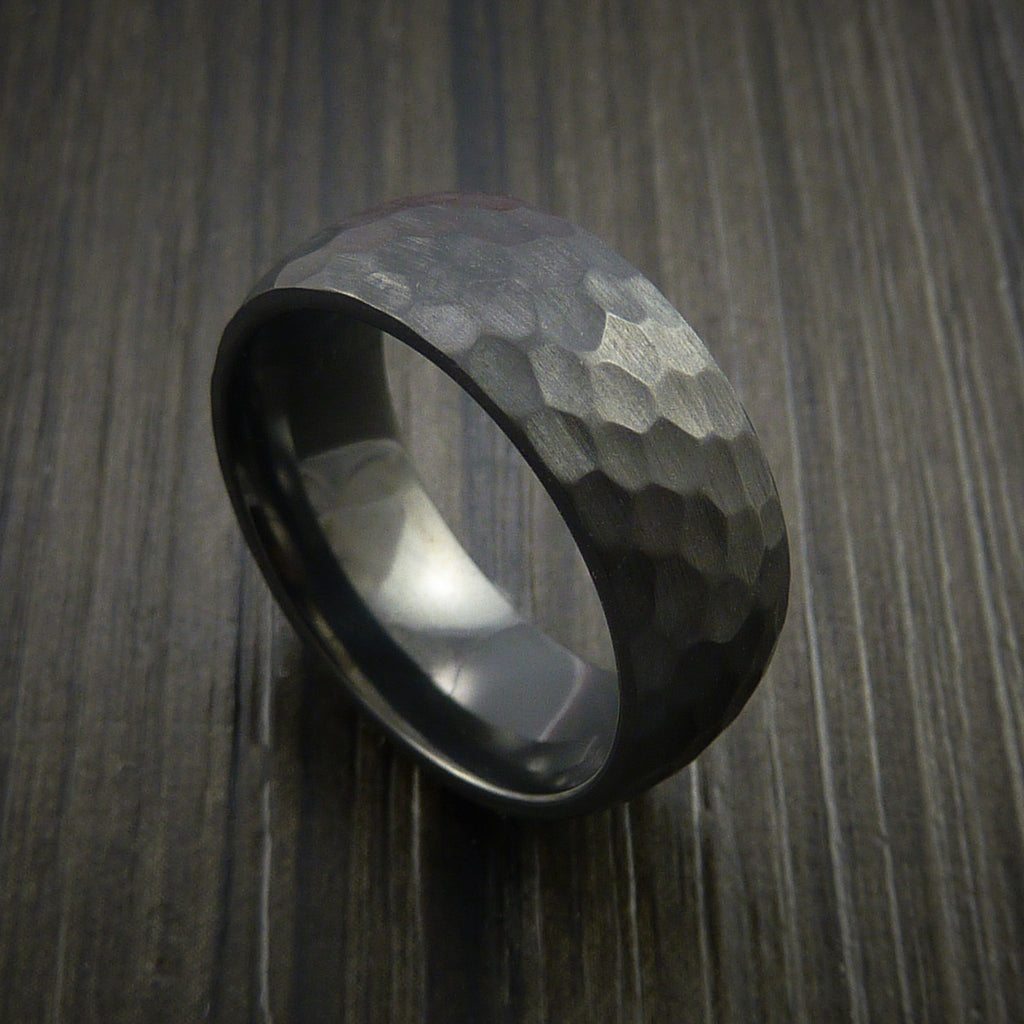 Black Zirconium Ring Hammer Finish Custom made Band to any Sizing