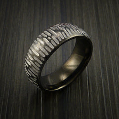 Black Zirconium Ring Textured Tiger Pattern Band Made to Any Sizing 3-22 - Revolution Jewelry  - 2