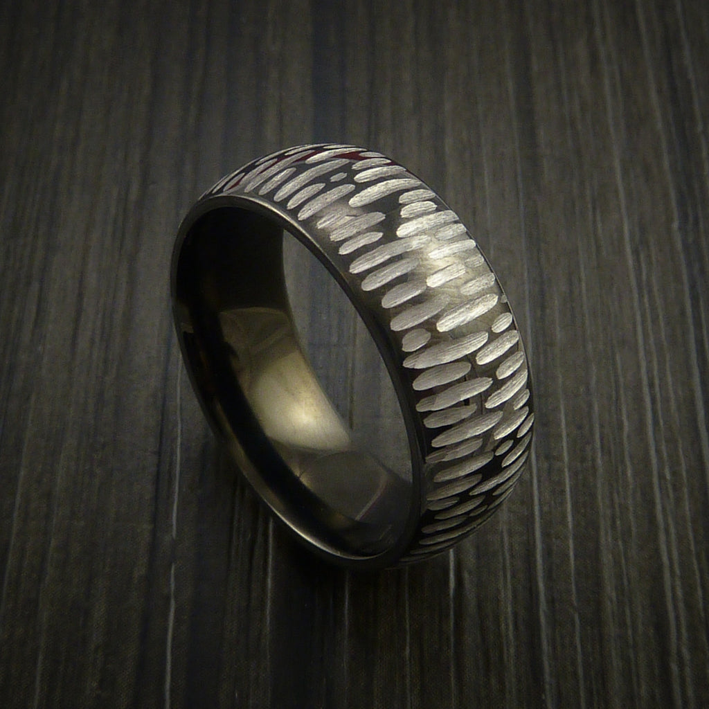 Black Zirconium Ring Textured Tiger Pattern Band Made to Any Sizing 3-22 by Revolution Jewelry