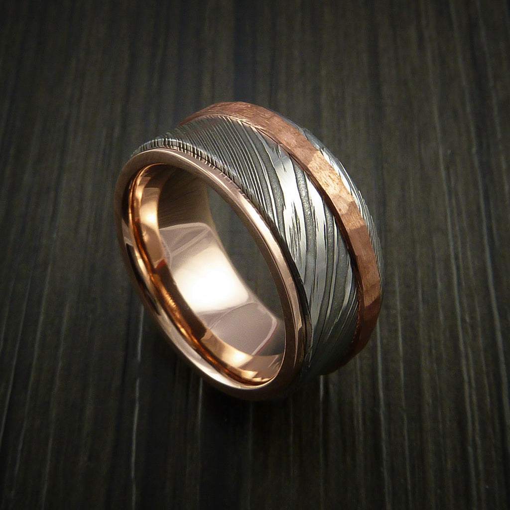 Damascus Steel 14K Rose Gold Ring Wedding Band with Hammered Copper Inlay by Revolution Jewelry