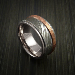 Damascus Steel 14K White Gold Ring Wedding Band with Hammered Copper Inlay