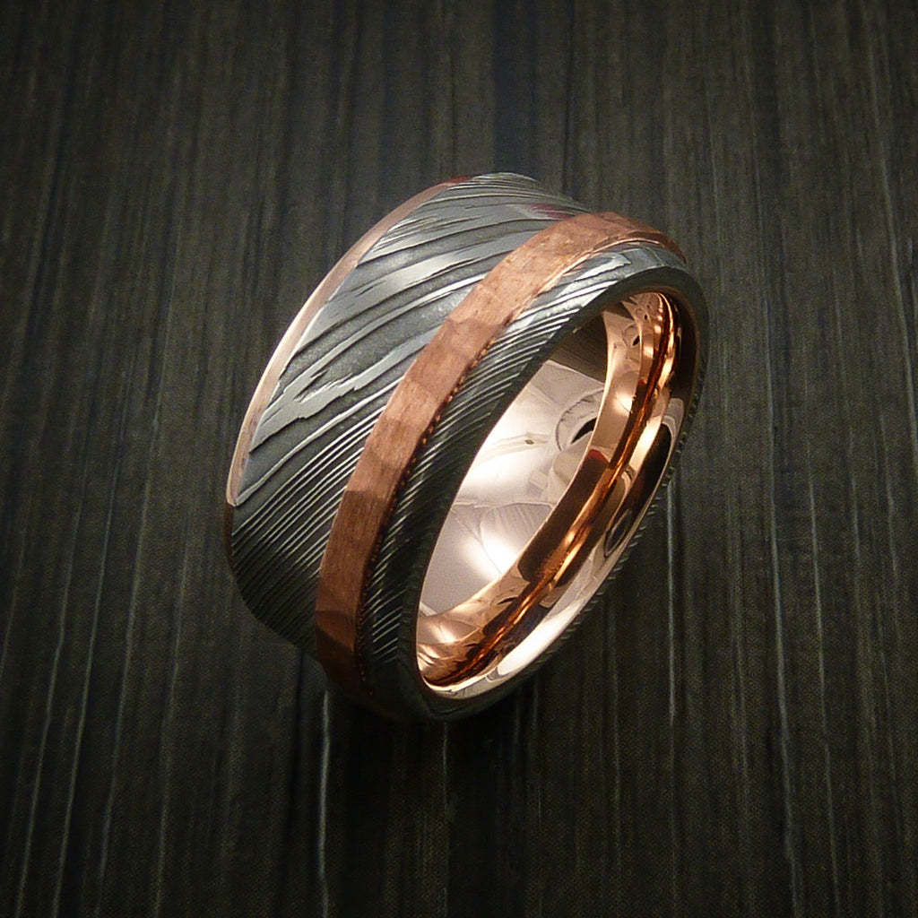 Damascus Steel 14k Rose Gold Ring Wedding Band With Hammered Copper In Revolution Jewelry Designs