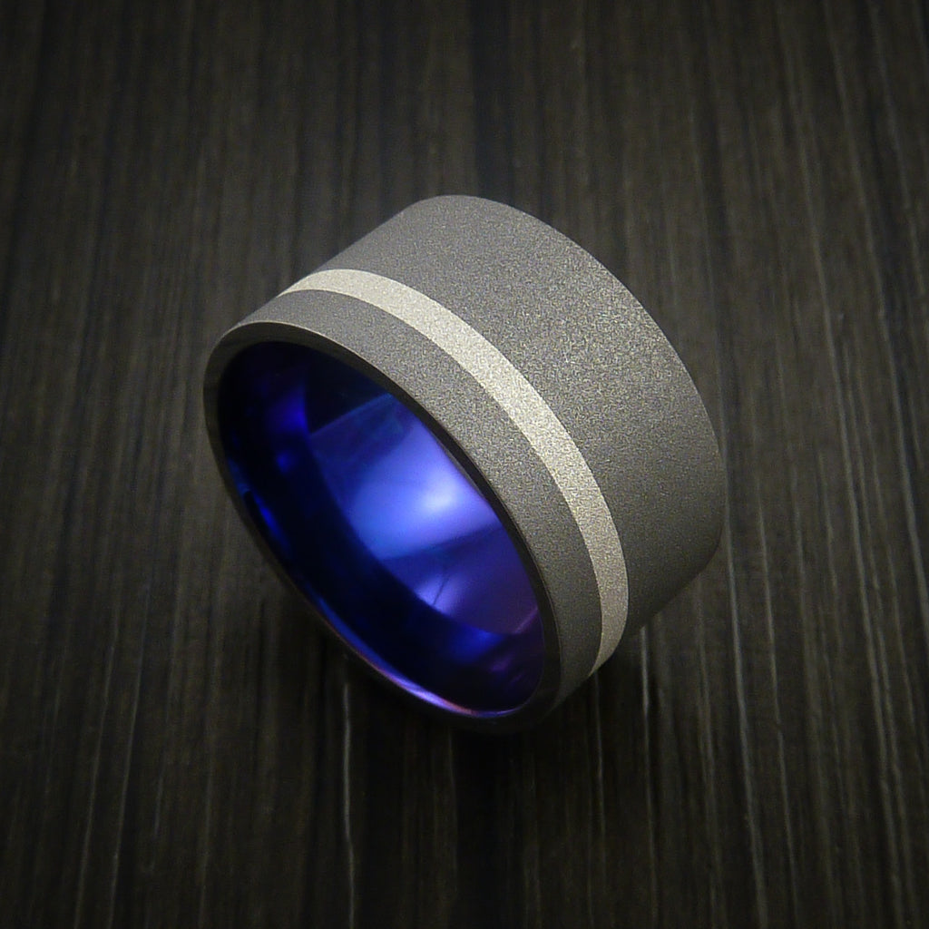 Wide Titanium Anodized Ring Classic Style with Silver Inlay Wedding Band - Revolution Jewelry  - 1