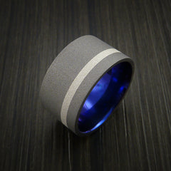 Wide Titanium Anodized Ring Classic Style with Silver Inlay Wedding Band - Revolution Jewelry  - 4