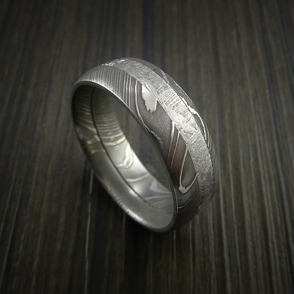 Gibeon Meteorite in Damascus Steel Wedding Band Made to any Size and Width - Revolution Jewelry  - 1